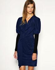 NWT $240 Designer `WHITE' label Italian SILK Dress by asos French Blue 10 - 18