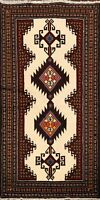 3'x6' Tribal Ivory Balouch Afghan Geometric Oriental Area Rug Wool Hand-Knotted