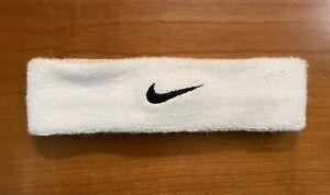 Nike Swoosh White Headband - Unisex White with Black Swoosh