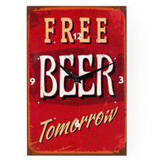 "Retro Canvas Wall Clock, ""Free Beer Tomorrow"" Logo Wall Clock"