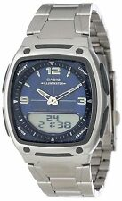 Casio Men's Data Bank Watch, 3 Alarms, 30 Meter WR, Blue Dial, AW81D-2AV
