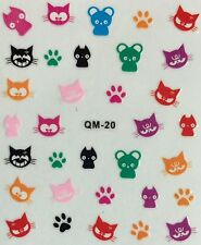 Nail Art 3D Decal Stickers Cats Kittens Paw Prints QM20
