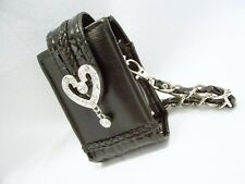 #8022-- WESTERN COWGIRL BLACK SILVER CRYSTAL HEART MINI WRISTLET PHONE HOLDER