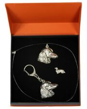 Dachshund - silver covered keyring, pendant, pin, set with dog, Art Dog
