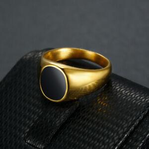 Round Black Enamel Signet Ring Solid Stainless Steel Men Women Wedding Ring Punk