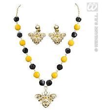 Jaune & noir Bumble Bee collier & Boucles d'oreilles Set Costume Robe Fantaisie Bijoux
