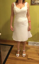 Evening Formal Dress Sz 8 Ivory Organza, Corset Back, Gallery Couture Brand