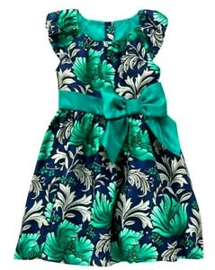 Gymboree Girl's Blue Emerald Green Holiday Christmas Party Floral Dress 5 5T