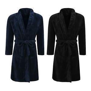 Winter Warm Fleece Dressing Gown with Belt Mens