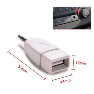 1x Converter Adapter USB 2.0 Female to 3.5mm Male AUX Audio Car Plug Jack New