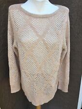 NWT $149 Chico's Black Label Paris Pink Gold Open Stitch Sweater Top 2 = L 12 14