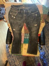 Almost Famous Womens Jeans Size 5 Boot Cut Destroyed Distressed Sequin Denim Jr