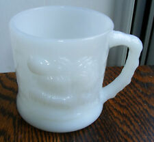Vtg Grog Fire King Wht Milk Glass Mug Hart BC Comic Cup