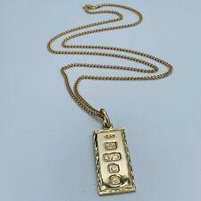 Lingote Oro Amarillo Sólido 9ct Vintage Colgante Collar de Oro con fecha 1977 y 9ct L214