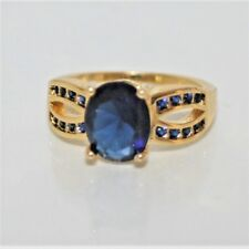 Exquisiter DamenRing Gold 18K GP (750) gest Saphir blau  Gr. 61 Ø 19,4 mm