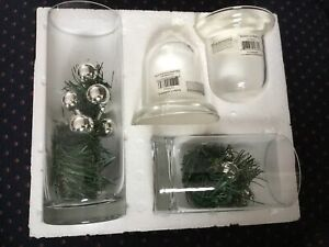 Yankee Candle Clear Glass Cylinder Set of 2, 4 pieces w/ Fillers Open Box New