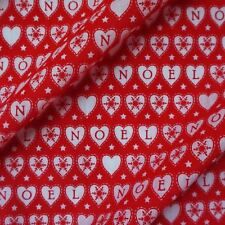 "Red Love Heart ""Noel"" Christmas Polycotton Fabric with Snowflakes (Per Metre)"