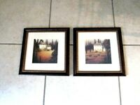 """PAIR of Vintage Matching PAINTED Picture Frames w/Glass 12"""" x 12"""" Aprox"""