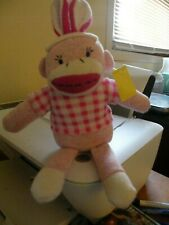 """Sock Monkey plush 12"""", new with tags, pink white"""