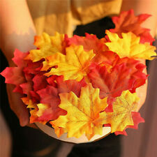 200Pcs Realistic Fake Maple Leaves Artificial Autumn Leaf Halloween Xmas Decor