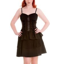 XS 8 Black Goth Rara Dress Hellbunny Ribbon Lacing Gothic Punk