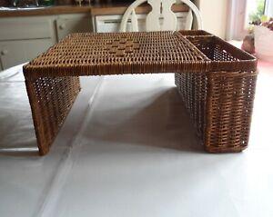Vintage Wicker Woven Rattan Utensil Plate Holder Table Tray Craft Organizer