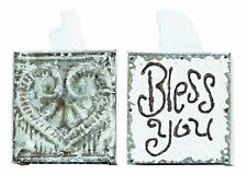 "Creative Co-Op White Wood and Tin ""Bless You"" Tissue Box Cover"