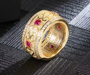 925 Sterling Silver Ruby & Clear Cubic Zirconia Band Ring Gold Plated Size 8