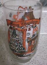 MERRY CHRISTMAS GLASS & SANTA 1984 WITH MC CRORY'S STORES PRINTED ON IT IN SMALL