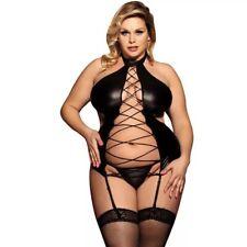 Hollow Out Bondage Pu Leather Lingerie Outfit Plus Size