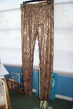 GIANNI BINI FAN FAVS GOLD SEQUIN & MESH WOMEN'S LEGGING PANTS M NWT