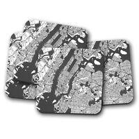 4 Set - Manhattan Map Coaster - New York City NYC USA America Cool Gift #13258
