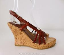 AKIEL Size 6 Brown Leather and Cork Open Toe Wedges Shoes