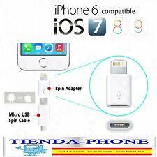 ADAPTADOR CONVERSOR MICRO-USB 5 PIN A LIGHTNING 8 PIN PARA IPHONE IPAD IOS 9