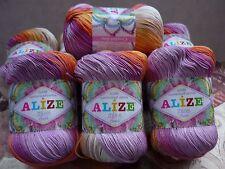 100% Mercerized Cotton Yarn Alize Miss Batik Thread Crochet Knitting 4skn 200gr