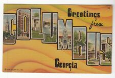 [53599] 1951 LARGE LETTER POSTCARD GREETINGS FROM COLUMBUS, GEORGIA