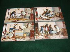 More details for vintage postcard art set x 4 signed evm monkey chimpanzee quarrel fight french