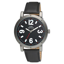 Fashion Low Vision Watch Black Face White Large Numbers - Black Leather Band