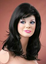 Forever Young Natural Black Long Volumised Wavy Layered Wig UK Fashion Wigs