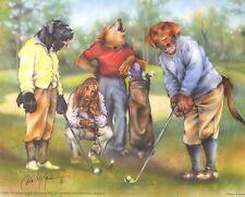 "Golfing Dogs Basset Hound, Kerry Blue Terrier Others 8"" x 10"" Art Print"