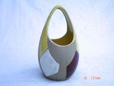 Keramikvase mit bunten Emaildekor Feldern 50er Jahre Jasba Keramik