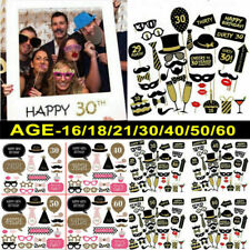 Happy Birthday Party Photo Booth Props Party Decor Selfie 16/18/21/30/40/50/60th