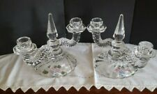 VTG Glass Double Glass Candlestick Pair Tapered MCM Obelisk Hollywood Gift Idea