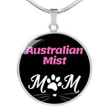 Australian Mist Cat Mom Necklace Circle Pendant Stainless Steel Or 18k Gold 18-2