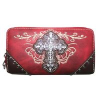 Premium Rhinestone Cross Women's Wallet with Extra Hand Wrist in 5 Colors