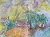 Expressives Aquarell Sommerstimmung Landschaft mit Dorf