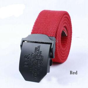 Mens Canvas Belt Waist Belts Cotton Webbing Adjustable US Black Buckle Plus Size