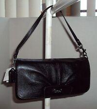 Coach Large Flap Wristlet Wallet Purse #F45981 Leather Black NWT