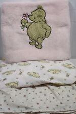 Classic Winnie the Pooh Pink Fleece Blanket Crib Sheet & Dust Ruffle Girl