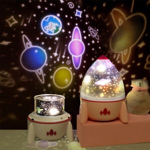 LED Star Space Rocket Rotating Night Light Projector Bedside Lamp Kid Room Gift